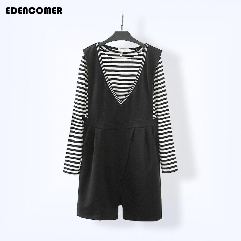 2017Spring Korean Women's Dresses Plus Size Two Pieces Stripe Long Sleeve T-shirt+sleeveless Dresses Office Women's Tracksuit