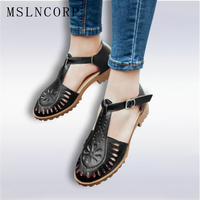 Plus Size 34 43 Summer Bullock Cut Outs Women Shoes Soft Outsole Woman Flat Sandals Fashion