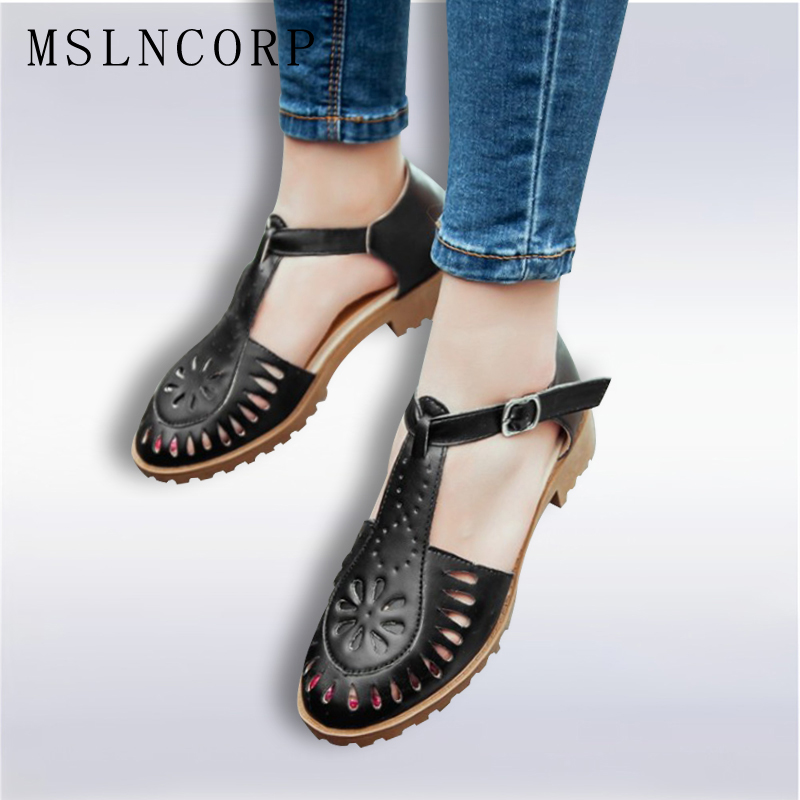 Plus Size 34-43 Summer bullock Cut Outs Women Shoes Soft Outsole Woman Flat Sandals Fashion Casual Comfortable Beach Sandals summer shoes woman genuine leather soft outsole open toe sandals casual flat women shoes 2018 new fashion women sandals