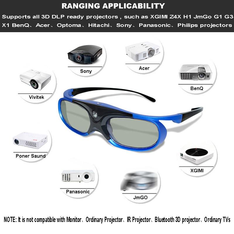 Obturador activo 96 144Hz gafas 3D recargables para Benq Acer X118H P1502 X1123H H6517Abd H6510Bd proyector Optoma Jmgo V8 Xgimi - 2