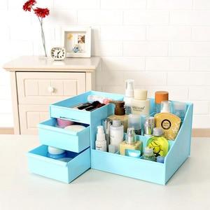Image 5 - 2019 New Plastic Makeup Organizer Make Up Brush Storage Box with Drawer Cotton Swabs Stick Maker Storage Case Hot Sale