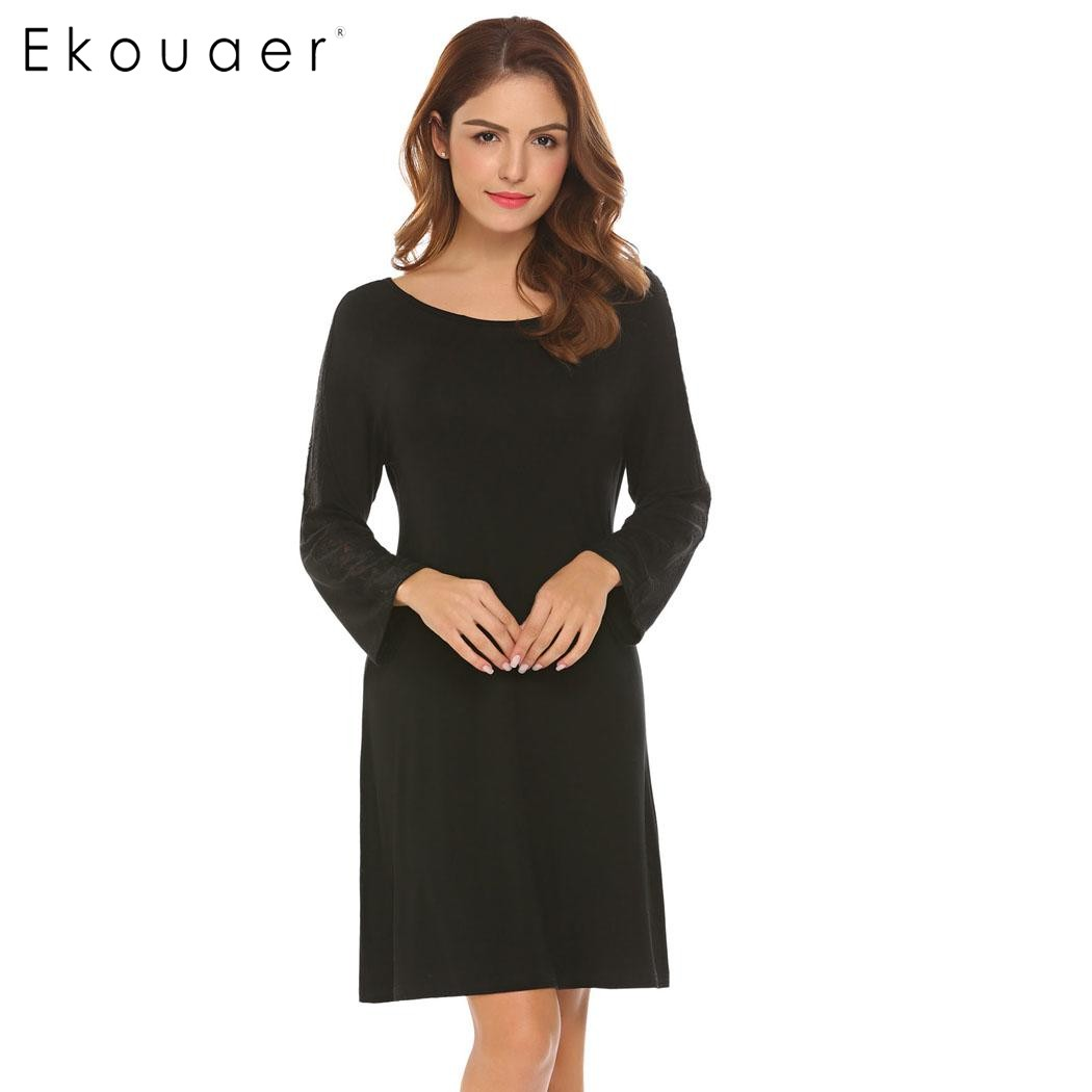 Ekouaer Casual Sleepwear Women Night Dress Round-Neck 3/4 Sleeve Lace Patchwork   Nightgown     Sleepshirt   Lounge Dress Home Clothes