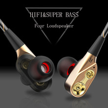 Double Dynamic Earphone Bass Subwoofer Earphones HIFI Stereo phone Sports Headset with Microphone for Phone lordzmix