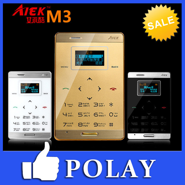 Original AIEK M3 Dual Sim Card Mini Touch Ultra-thin Pocket Cool Mobile Cell Phone MP3 FM Bluetooth Englis/Arabic Keyboard