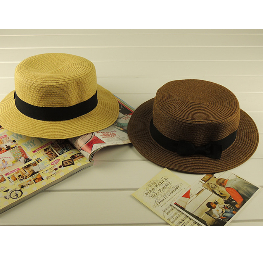 bd9e6d350ab36 Detail Feedback Questions about Fashion Summer Unisex Ribbon Belt Can Can  Hats Flat Round Topper Beach Fedora Hat Sun Cap For Women on Aliexpress.com  ...