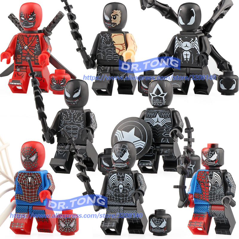 Hearty Marvel Super Heroes Avengers Legoing Venom Movie Series Deadpool Spiderman Super Heroes Action Building Blocks Toys For Children Model Building