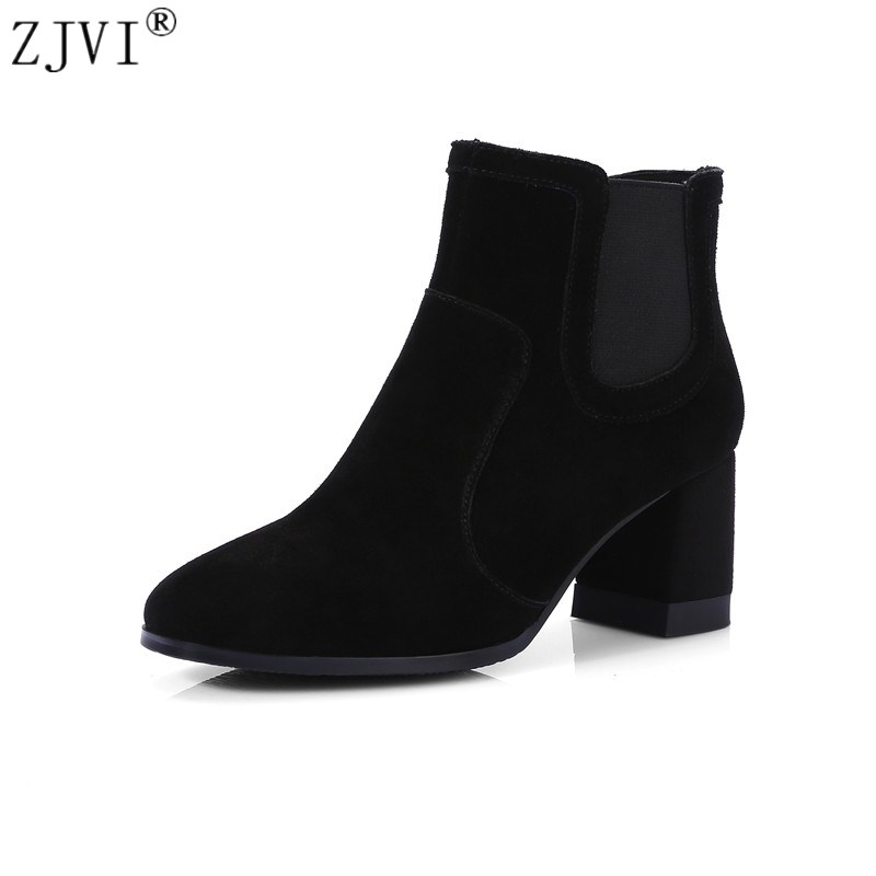 ZJVI Women suede Genuine leather Ankle boots womens Autumn winter 2018 Woman  fashion nubuck thick high heels shoes cdc3712fafa8