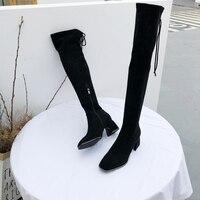 Роскошные Брендовые женские ботинки сбоку женская обувь на молнии Сапоги выше колен (ботфорты) на высоком каблуке обувь на шнуровке женщина