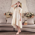 Ladies vintage palace nightgowns summer pure cotton long sleeping dress Saudi Arabia womens house home clothes sweet nightdress