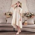 Senhoras do vintage palácio nightgowns verão colete de algodão puro vestido longo dormir Arábia Saudita de casa das mulheres roupa em casa camisola doce