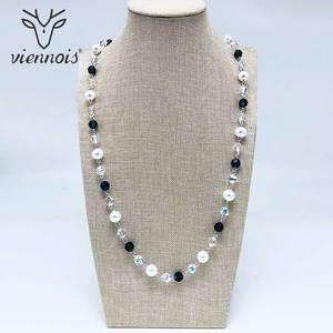 Image 2 - Viennois Perle Lange Halskette Für Frauen Mischen Farbe Perle Halskette Pullover Kette Halskette Koreanische Stil Halskette Mode Schmuck