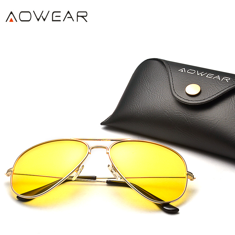 AOWEAR Brand 3025 Goggles Vision Night Glasses for Driving Polarized Aviation Yellow Sunglasses Men Night Vision Pilot Eyewear