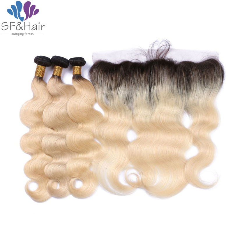 #1B/613 Blonde Frontal With Bundles Ombre Brazilian Hair With Closure Body Wave Full Head Lace Frontal Closure With Bundles