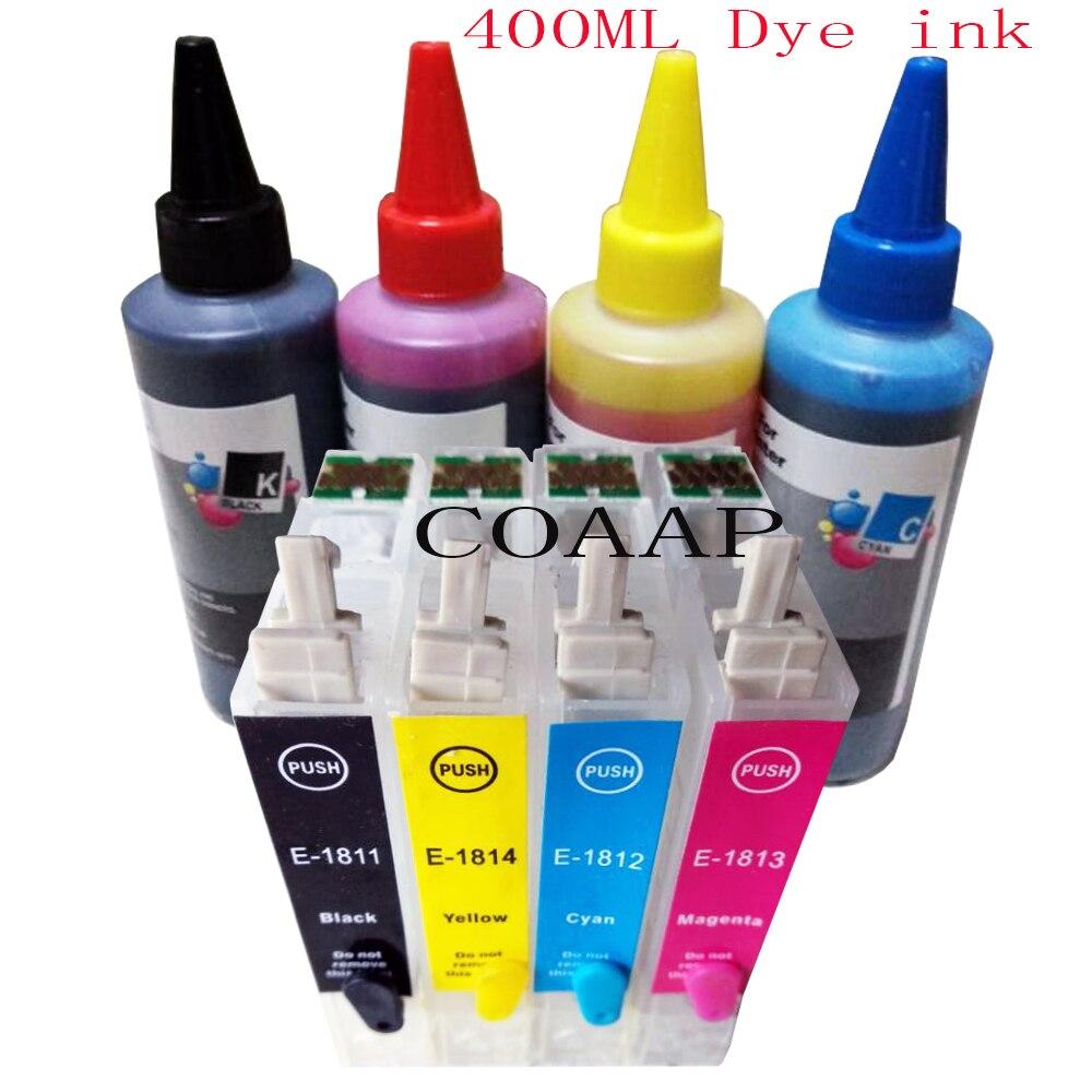 T1811 T1816 18XL Nachfüllbare patrone für EPSON XP 30 102 302 402 202 305 205 212 405 312 412 415 215 drucker + 400 ml dye-tinte