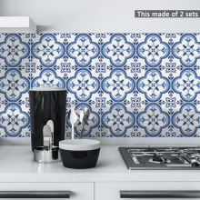 Funlife 15*15cm/20*20cm Blue&Grey Mediterranean Geometry DIY PVC Waterproof Self  adhesive Kitchen Bathroom Tile Sticker TS059