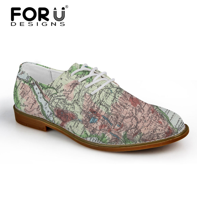 FORUDESIGNS Retro 3D Map Printed Fashion Men Leather Dress Shoes High Quality Men Oxfords Shoes Flats Men's Casual Oxford Shoes