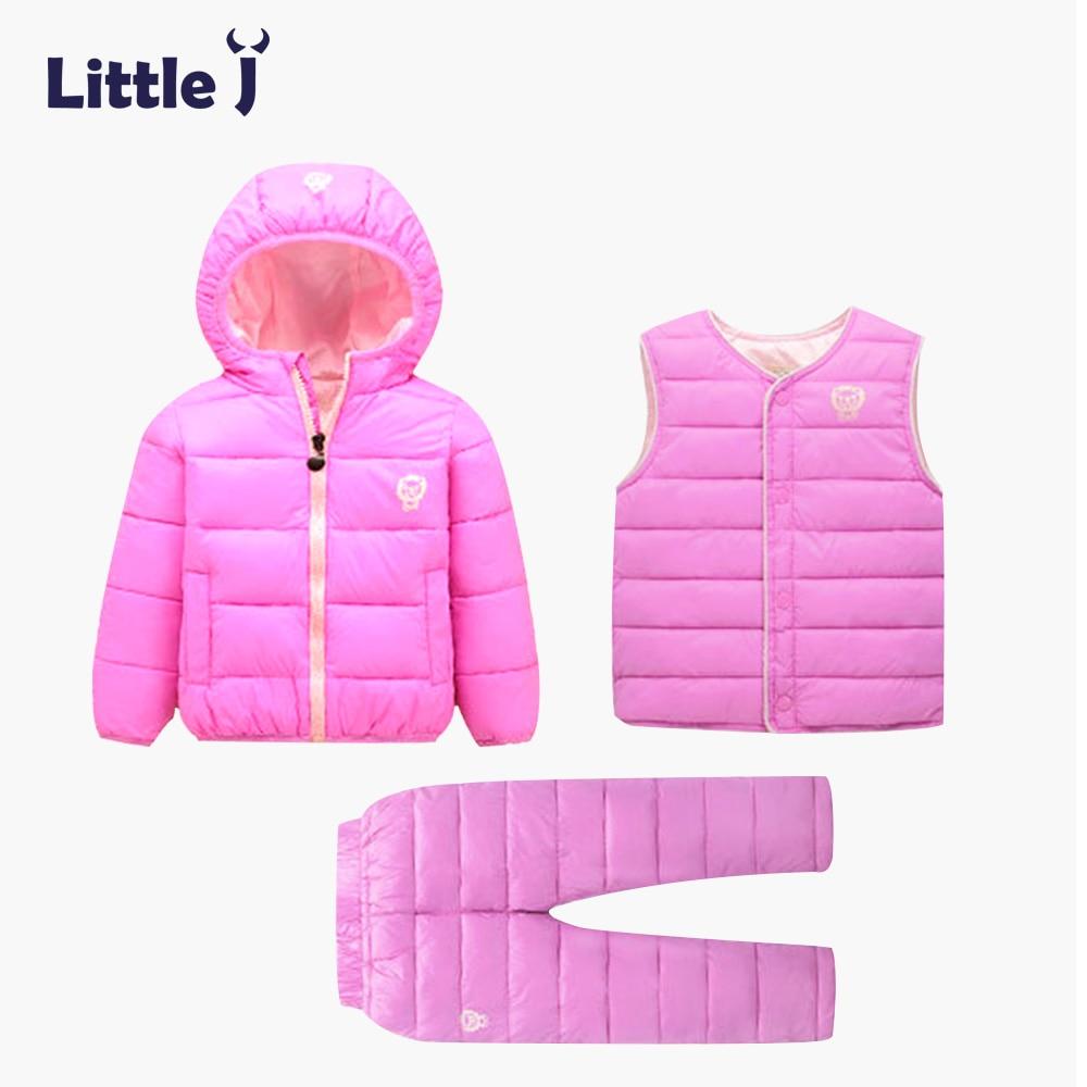 Little J 2017 Baby Boys Girls Winter Clothing Set Cotton Coat Pants Vest Suit Kid Hooded Parkas Jacket Children Thermal Snowsuit pogo club little girls 3 piece quilted vest set