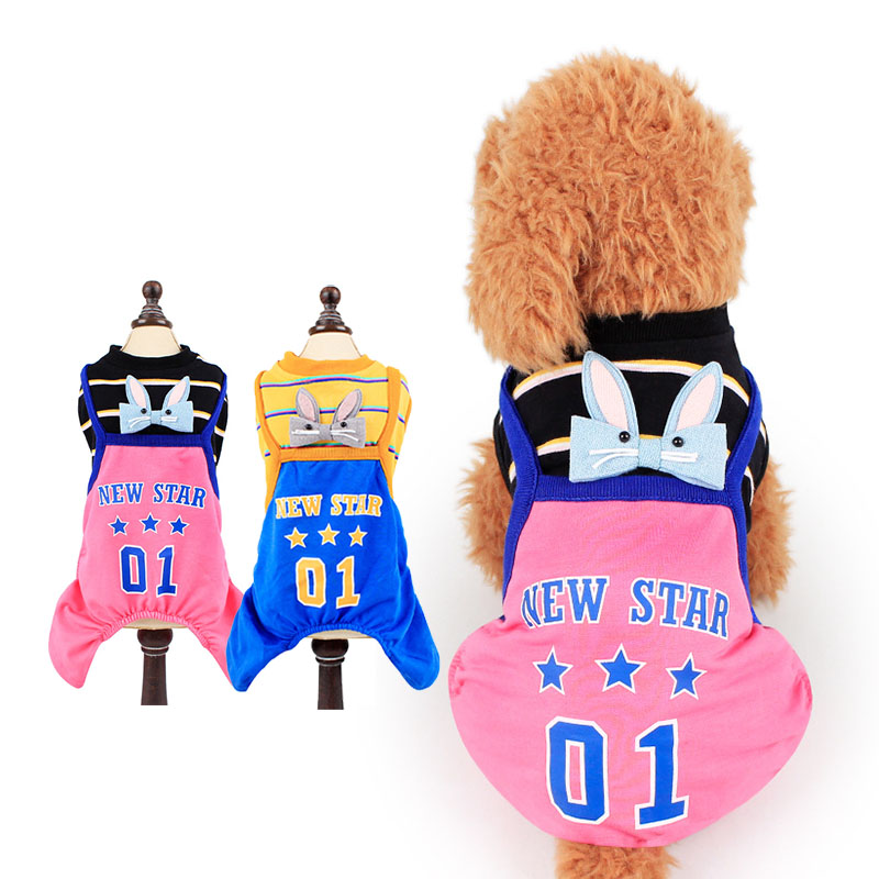 New Puppy Costume Pet Clothes for Dogs and Cats Soft & Comfy Cotton Dog Hoodie Striped Vest T-Shirt Suit Blue Pink Drop Shipping