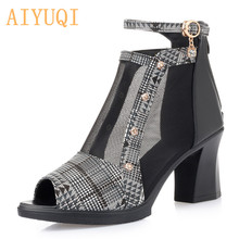 AIYUQI Women Sandals High Heels 2020 New Women Sandals Genuine Leather Shoes Lady Sandals Open Toe Fashion Summer Mesh Rome Zip genuine leather crystal open the toe thick high heels women sandals 2016 new fashion sexy peep toe lady summer sandal shoes