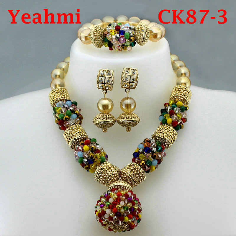 New Arrival 2019 African Beads Jewelry Set Fashion Nigerian Wedding African Beads Necklaces Earrings set Girls Womens Necklace