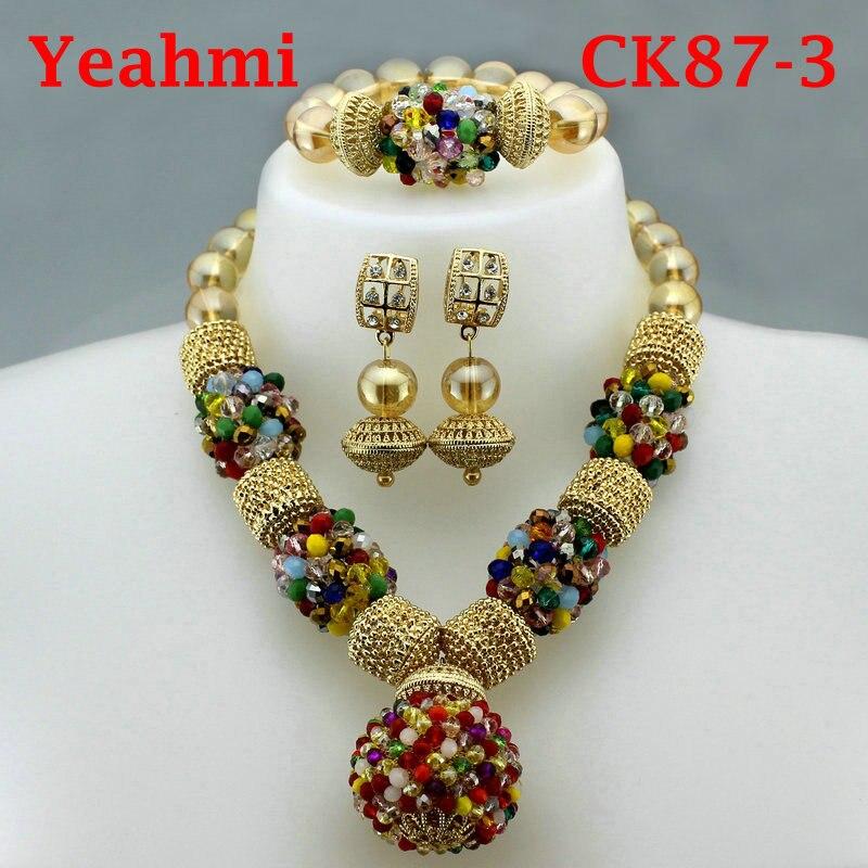Nouveauté 2019 perles africaines ensemble de bijoux mode mariage nigérian perles africaines colliers boucles d'oreilles ensemble filles femmes collier