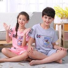 Купить с кэшбэком Summer 2019 Children Pajamas Suit Cartoon Boys Homewear Girls Cute Sleepwear Set Baby Kids Pijamas Set Children's Set