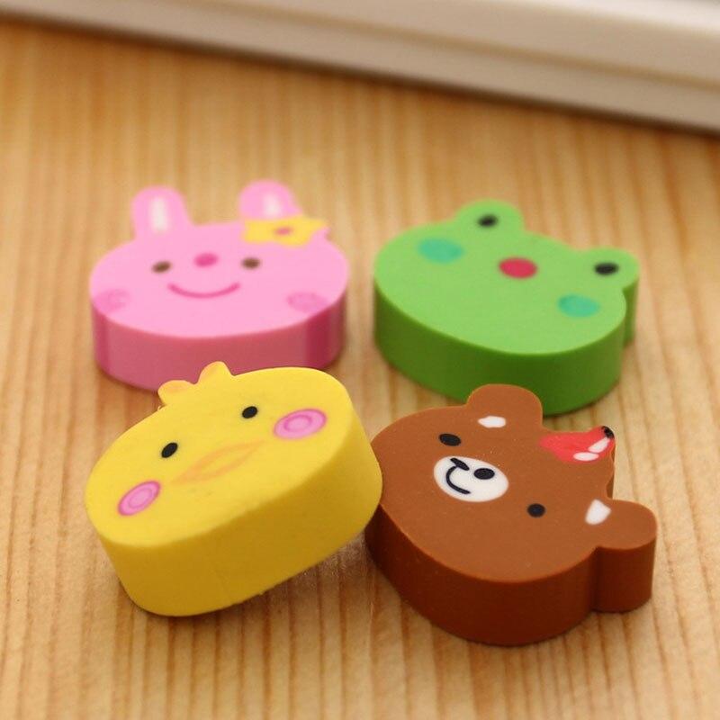 Купить с кэшбэком 4pcs /cute creative Children's gift cute cartoon animal head eraser kawaii school supplies papelaria Learning stationery