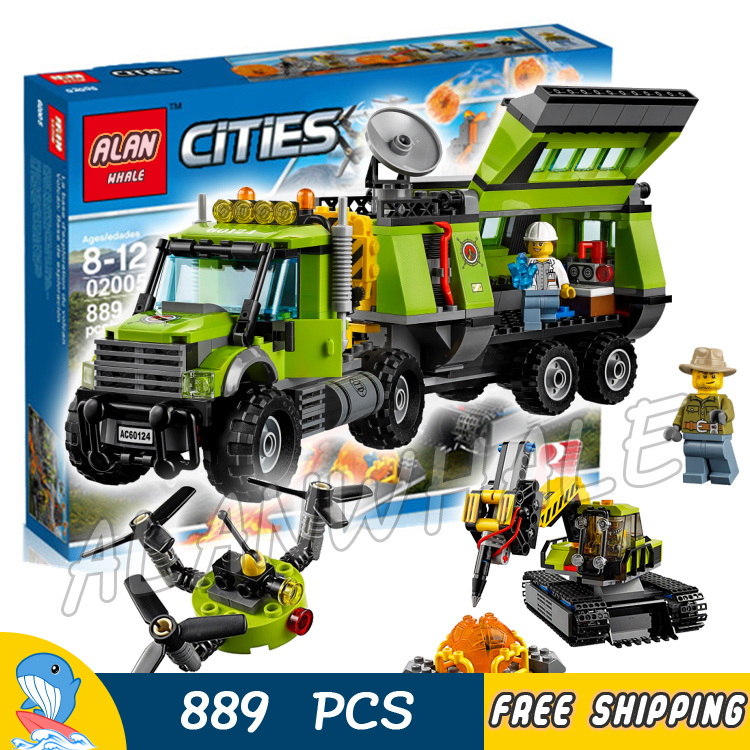 889pcs City Volcano Exploration Base Model Building Blocks 10641 Assemble Bricks Children Cars Toys Sets Compatible With Lego 774pcs city deep sea explorers 02012 model exploration vessel building blocks bricks children toys ship kit compatible with lego