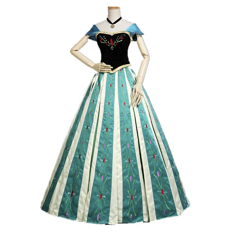 Princess Anna Dress Cosplay Costume Halloween Cosplay Princess Elsa Anna Dress Adult Party Dress Costume