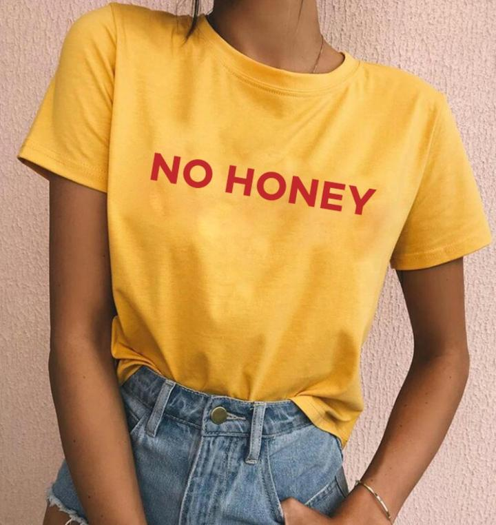 unisex casual aesthetic tee no honey t shirt tumblr red