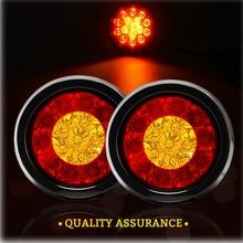 цена на 12V/24V Round 16Led Truck Trailer Lights Waterproof Stop Turn Signal Rear Tail Light Led Lamp For Lorry Caravan Red & Amber