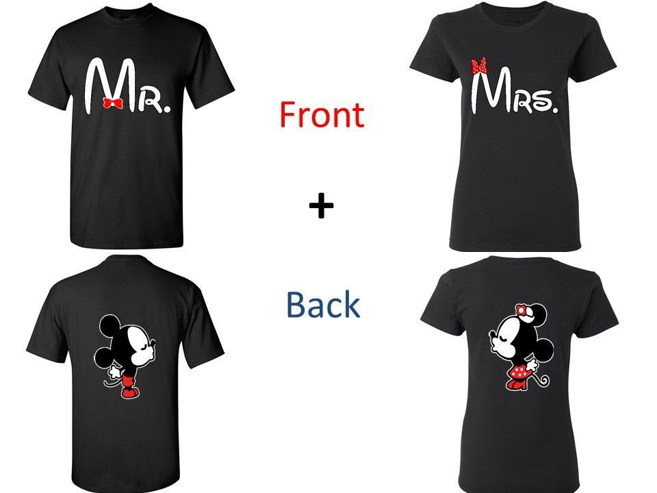 Mr and Mrs, Kissing Cartoons Couple Matching T-shirts. Valentines Day Gift Funny Men and ...