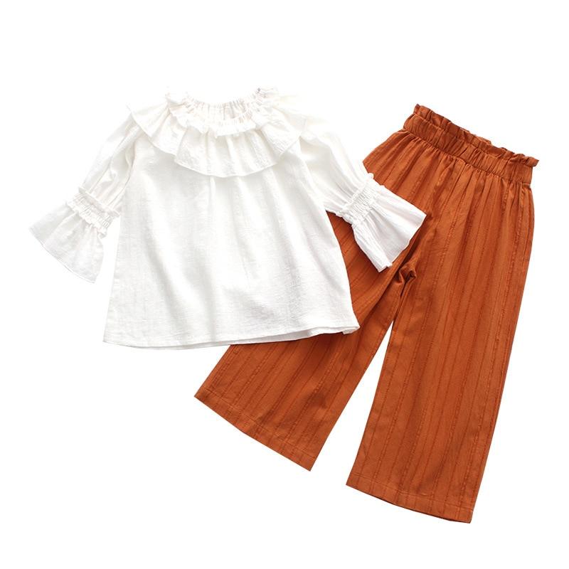 Children Clothes Baby Girls Set Kids Suit 2018 Spring Casual Tracksuit Tshirt+ninth Pants Infantil Costume Enfants Fille Top