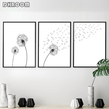 Set of 3 Dandelion Prints Black and White Minimalist Poster Prints Canvas Wall Art Painting Decoration Picture Modern Home Decor prints
