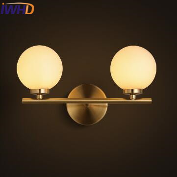 IWHD 3 Heads Glass Ball Sconce Wall Light Fixtures Iron LED Wall Lamp Modern Home Lighting Stairs Style Loft Retro Wandlamp iwhd loft style creative retro wheels droplight edison industrial vintage pendant light fixtures iron led hanging lamp lighting