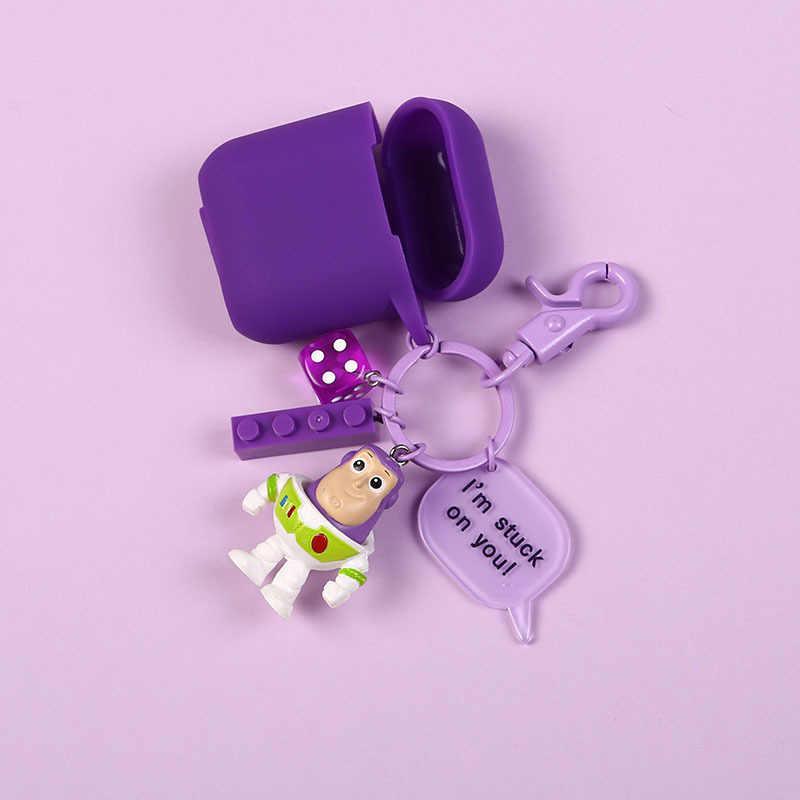 Bonito Keychain Action Figure Modelo Toy Story Buzz Lightyear Airpods Chave Anel Crianças Presentes para Mulheres Acessórios Saco Pingente