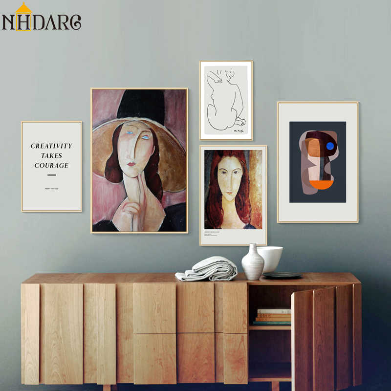Modern Geometry Amedeo Modigliani Woman Mattis Sketch Canvas Print Painting Poster Wall Pictures for Living Room Home Decoration