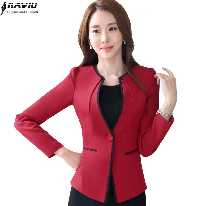 NAVIU Elegant and Fashion Women long-sleeve blazer plus size OL office formal female jacket work wear slim Patchwork outerwear