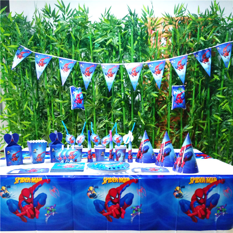 132pcs/bag Spiderman Party Supplies Plate/Cup/Straw/Tablecloth And Other Birthday Decoration Shower Kids