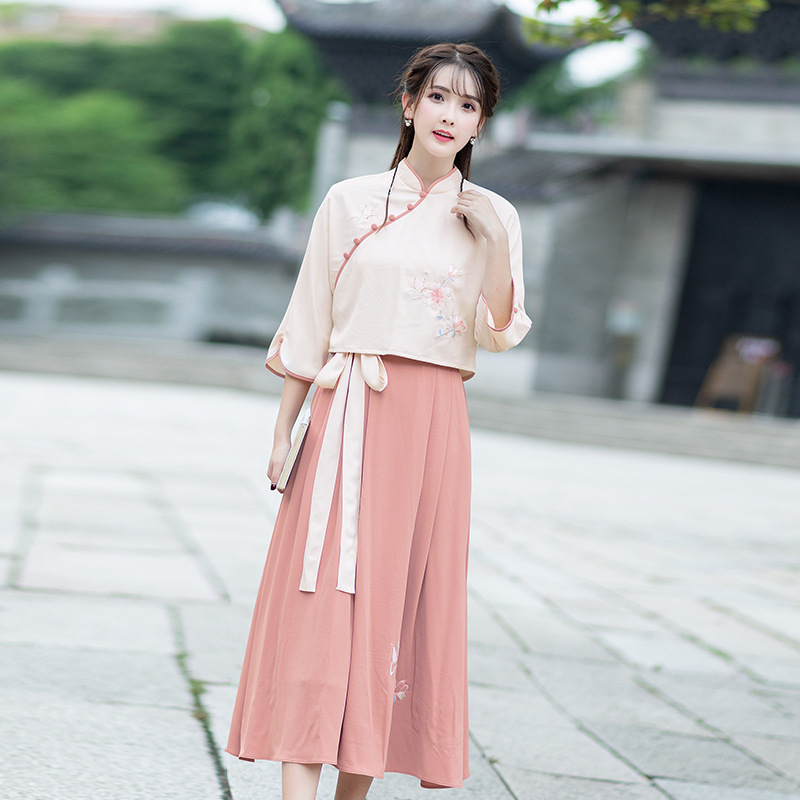 Ubei Spring China HanFu new vintage embroidered blouse with long skirt sets women two pieces sets Chinese style dress in Women 39 s Sets from Women 39 s Clothing