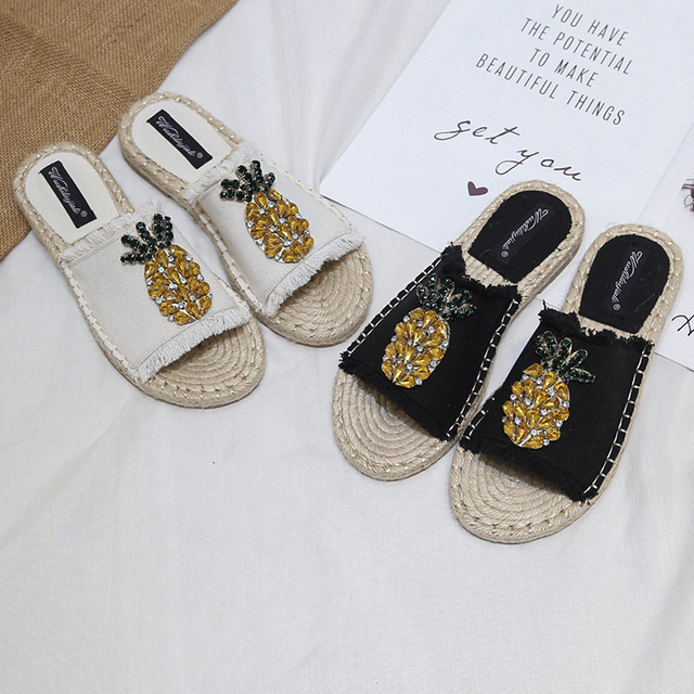 2019 New Straw Fisherman Mules Shoes Sandals Woman Summer Flat Bottom Slipper Rome Retro Female Slippers Espadrilles Crystal