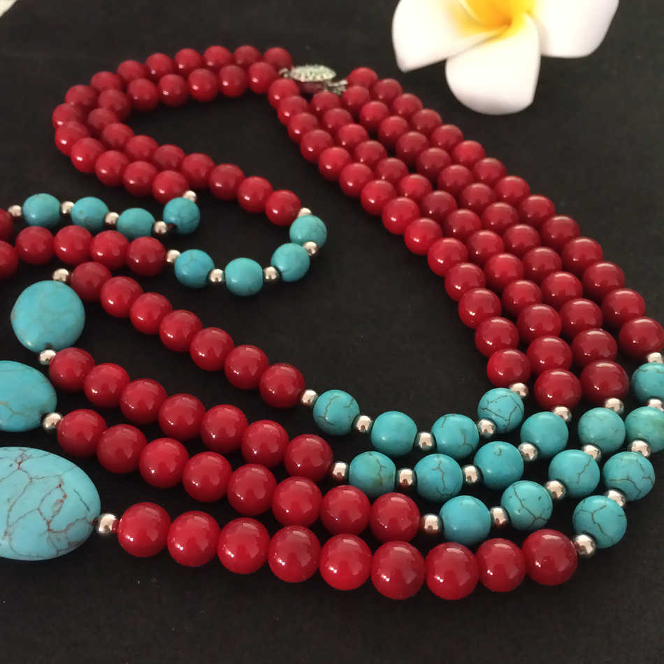 New arrival red artificial coral charms calaite stone turquoises 8mm beads diy semi-precious necklace making 18 inch BV113