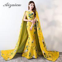 Dubai Evening Dress With Shawl Floor Length 2018 Yellow Mermaid Satin Cheongsam Long Chinese Qipao Oriental Style Dresses