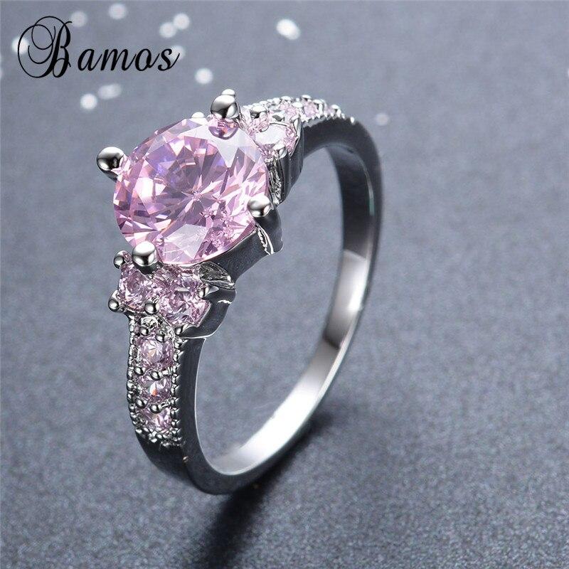 Бамос стерлингового серебра 925 Заполненный круглый розовый циркон Кольца для Для женщин женские свадебные украшения мода Обручение Promise Ring ...