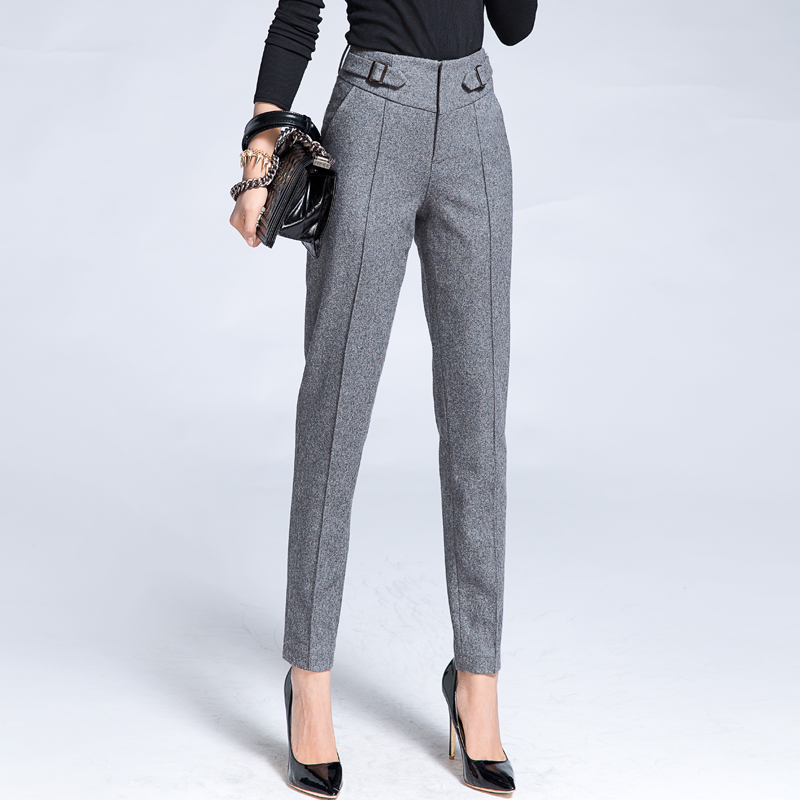 Fashion Wool Pencil Pants Trousers Womens Slim Casual ...