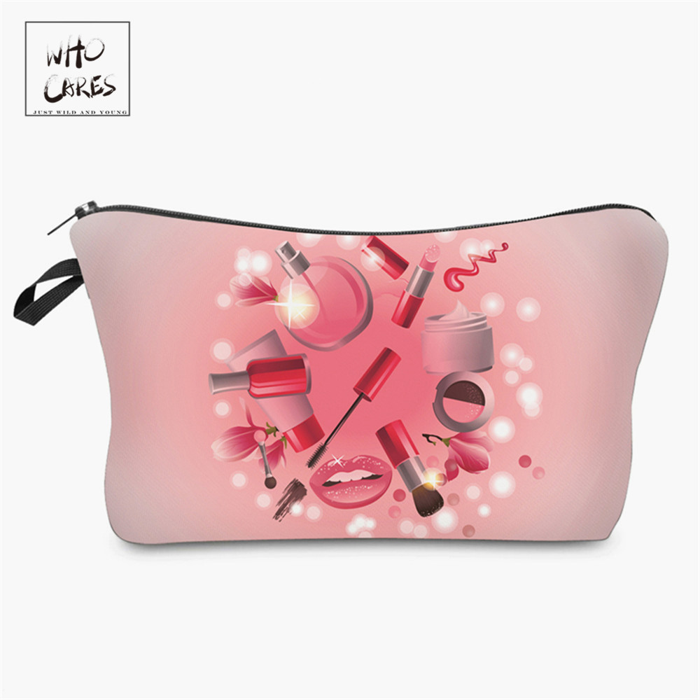 Who Cares Beauty 3D Printing Makeup Bags Cosmetics Pouchs For Travel Ladies Pouch Women Cosmetic Bag