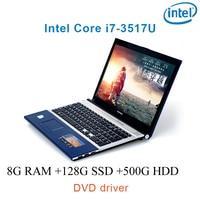 """dvd נהג ושפת 8G RAM 128g SSD 500G HDD השחור P8-14 i7 3517u 15.6"""" מחשב נייד משחקי מקלדת DVD נהג ושפת OS זמינה עבור לבחור (1)"""