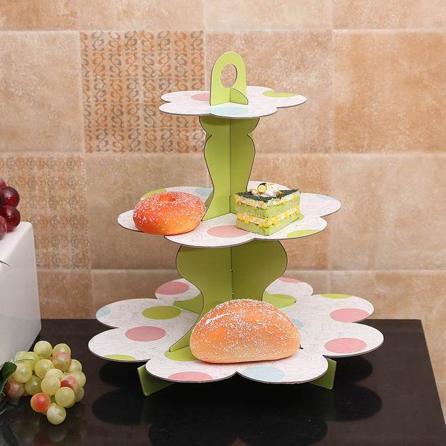 3 Tiers Diy Paper Cupcake Stand Dessert Candy Storage Holder Birthday Wedding Party Cake Display Catering