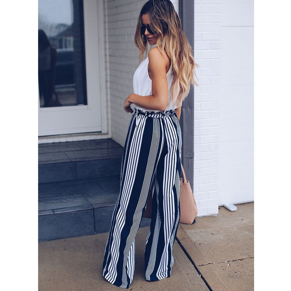 Fashion Summer Wide Leg lace up Pants Women High Waist Striped Loose Palazzo Pants Elegant Office Ladies Trousers 3