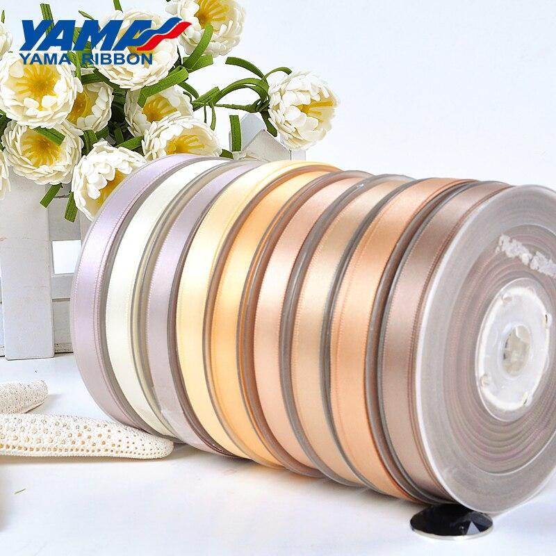 Яма 100 ярдов 6 9 13 16 19 22 мм Double Face атласная лента золото коричневые ленты для вечерние свадебные украшения ручной работы Роза подарки